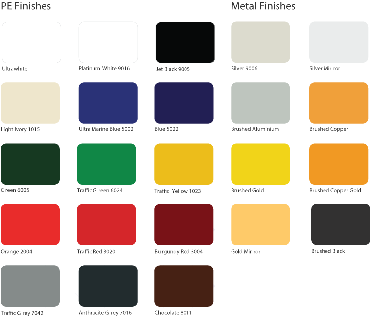 Standard Colour Range